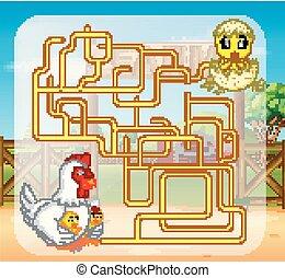 maze game with chicken