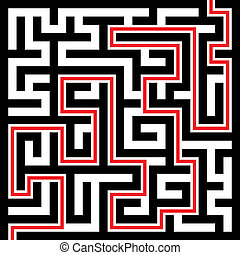 Maze - Illustration of Maze or Labyrinth Background