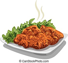 illustration of meat schnitzel with lettuce on plate