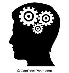 illustration of mechanics of human mind on isolated background