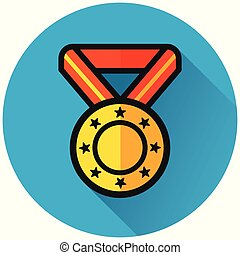 medal circle blue flat icon
