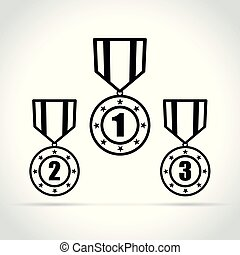 medal icons on white background