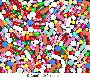 illustration of medical background with pills and capsules pills