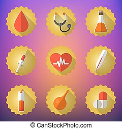 Medical Flat Vector Icon Set. Include heart, blood drop, flask,
