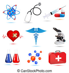 medical icons - illustration of medical icons on white ...