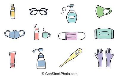 Illustration of Medical mask, sanitizer bottles, sanitizer spray,washing gel, soap, gloves, glasses, Mouthwash, Thermometer. Vector Illustration.
