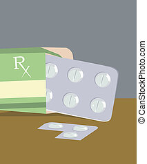 medicines - Illustration of medicines in a packet