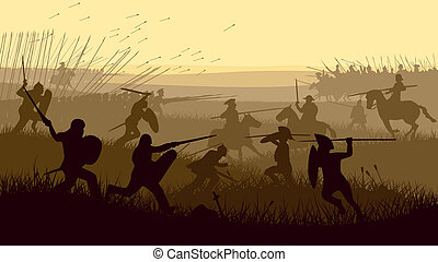 Illustration of medieval battle. - Horizontal vector...
