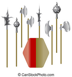 Illustration of medieval weapons and shield