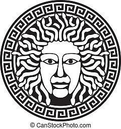 Illustration of Medusa Gorgon head with snake hair. Round meander illustration.