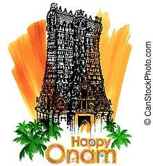 Meenakshi temple in Onam celebration background