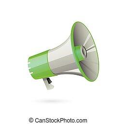 Illustration of megaphone on white background