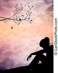 Illustration of melancholic woman
