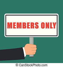 members only sign flat concept