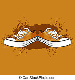 men shoes - illustration of men shoes on abstract background