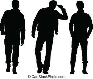 men silhouette collection - vector