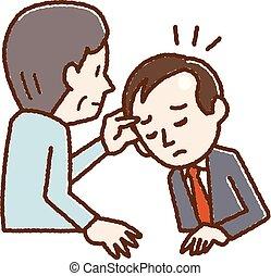 Illustration of men undergoing scalp examination