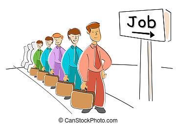 men waiting for job