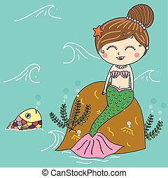 illustration of mermaid in the sea with colorful fish, smiling face, long hair