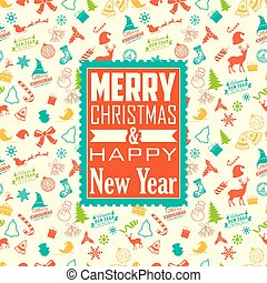 Merry Christmas and Happy New Year on seamless background
