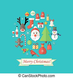 Merry Christmas Card with Flat Icons over Blue