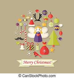 Merry Christmas Card with Flat Icons Set and Angel
