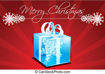 merry christmas card with gift
