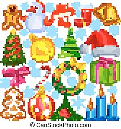 Merry Christmas design object with snowman, tree and gift