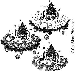 Illustration of Merry Christmass label for your design