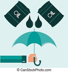 illustration of message help from nature, barrels oil with hands and umbrella