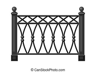 Illustration of metal forged fence. Garden, park or yard hedge section.