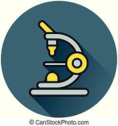 microscope circle flat icon concept
