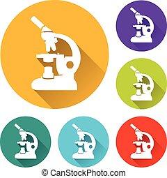 microscope circle icons set
