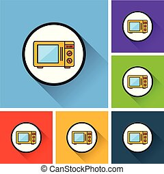 microwave oven icons with long shadow