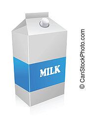 milk carton - illustration of milk carton on white...