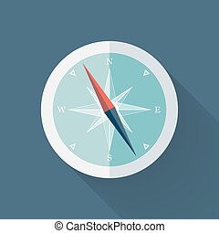 Mint Compass flat icon over blue