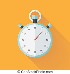 Mint flat stopwatch icon over orange