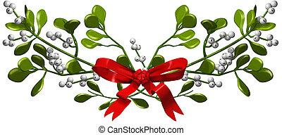 illustration of mistletoe with ribbon