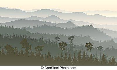 Illustration of misty forest hills.