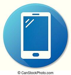 mobile phone blue circle icon