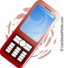 mobile phone - Illustration of mobile phone with colour