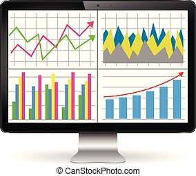 Illustration of modern computer display with graphs and diagrams on the screen. Finance statistics report, statistic analysis.