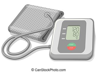 blood pressure monitor - illustration of modern digital...