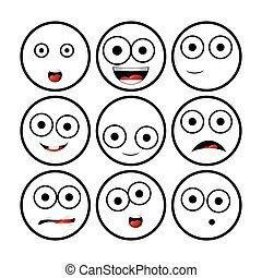 Illustration of modern flat collection with different emoticons