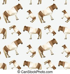 Illustration of modern flat design with seamless, origami horse pattern