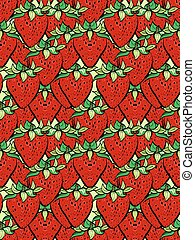 Illustration of modern flat design with seamless strawberrz pattern