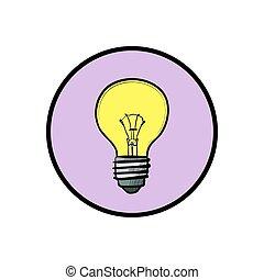 Illustration of modern flat design with yellow light bulb