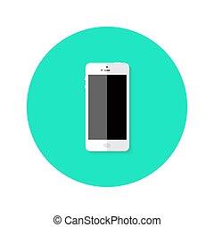 Modern White Smartphone Flat Circle Icon