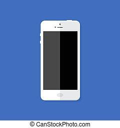 Modern White Smartphone Flat Icon
