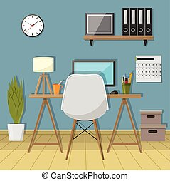 Illustration of modern workplace in room. Creative office workspace